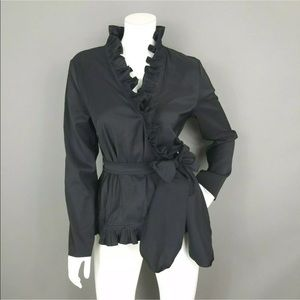 COLDWATER CREEK BLACK RUFFLE WRAP BLOUSE